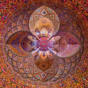 Rosa Moschee Ornament Orient Schiras Iran Nasir al molk. Pink Mosque Ceiling View Orient Shiraz.