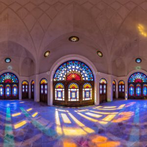 Chane-ye Tabatabayi historisches Bürgerhaus farbiges Glas Oasenstadt Kaschan Provinz Isfahan Iran .