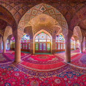 Rosa Moschee Panorama Schiras Architektur Orient Iran. Pink Mosque Panorama Shiraz Architecture Nasir al molk.